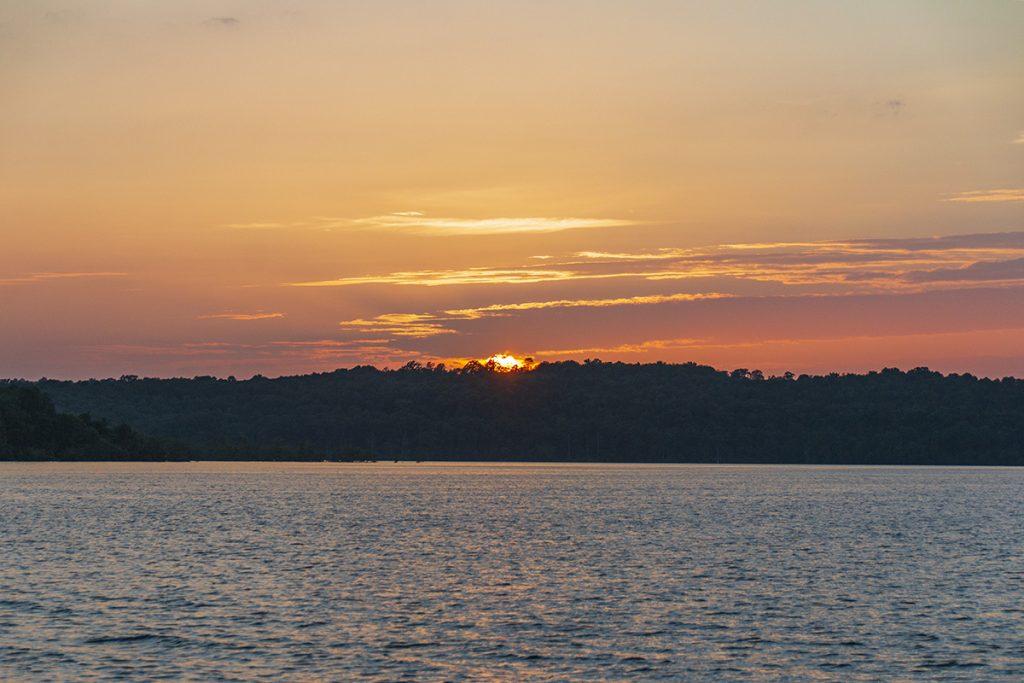 Sun setting over Bull Shoals lake