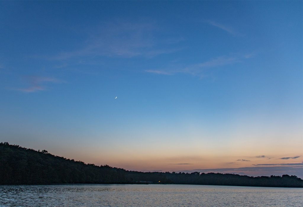 Thin Cresent Moon Over Bull Shoals Lake