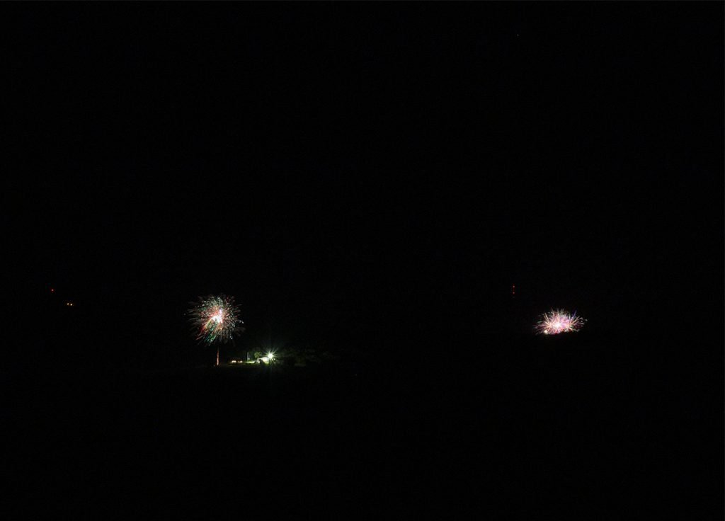 Fireworks across the lake.