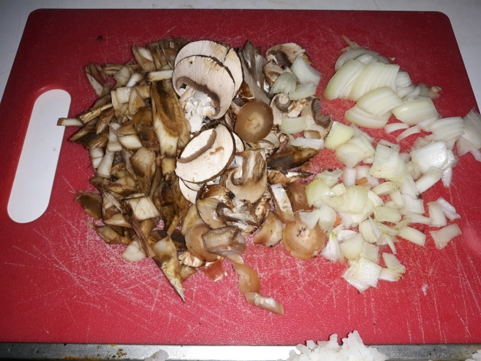 fried rice ingredients with burdock root