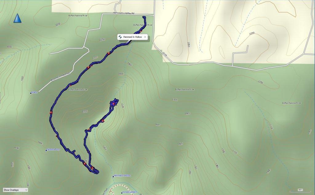 Hemmed In Hollow GPS Map