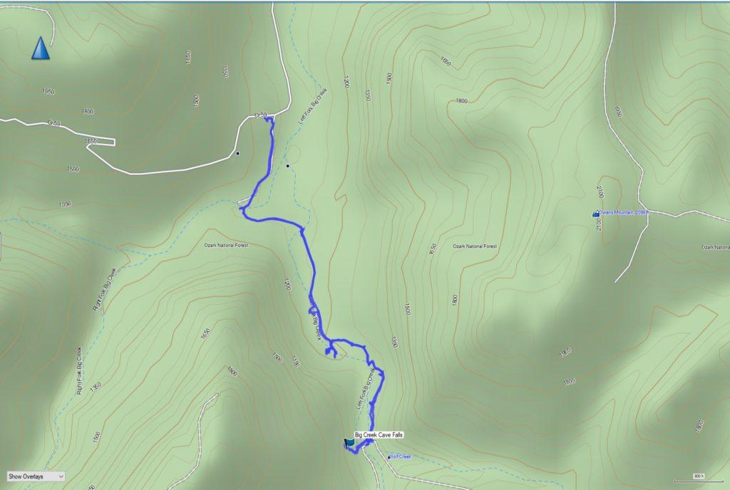 Big Creek Cave Falls GPS Track